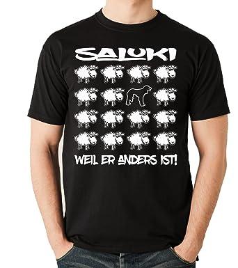 Siviwonder Unisex T-Shirt BLACK SHEEP - SALUKI Windhund - Hunde Fun Schaf  schwarz S