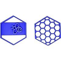 PlasticJewels - Stampo formina tagliabiscotti set di 2 a forma di alveare per il miele ed ape