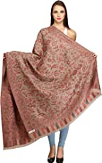 Exotic India Reversible Jamawar Shawl from Amritsar with Woven Flowers
