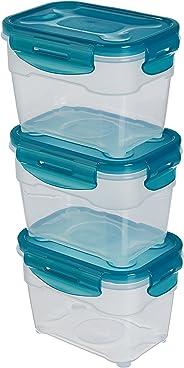AmazonBasics 3pc Airtight Food Storage Containers Set, 3 x 1.0 Liter