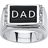 Palm Beach Jewelry Men's Stainless Steel Black Enamel Round Crystal Dad Ring