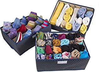 FastUnbox Drawer Organizers Designed Set of Three Cloth Storage Boxes with lids—Separate Lingerie, Socks, Ties and Other Items in Neat compartments(Colours and Designs May Very)