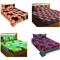PATWAHOUSE Microfiber Combo Set of 4 Double Bedsheet with 8 Pillow Covers (Multicolour) (Blue)