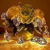 Awestuffs Golden 16 LED Leaf String Lights for Home Decoration