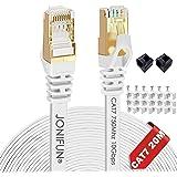 Câble Ethernet 20M Cat7 Câble réseau Plat Haut Débit Blindé RJ45 10Gbps 750MHz SFTP 8P8C Câbles de Connexion Patch pour Route