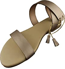 Foot Wagon Creame Ankle, Back Knotting Flats | Rose Gold Straps|Crossed Straps | Flats |Ladies Sandal | Straps|Women Flats | Ladies Slippers |Girls Slippers |Strap Flats| Chappals|