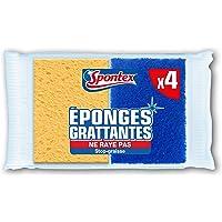 SPONTEX - L'éponge bleue - 4 éponges grattantes Stop-Graisse non-rayantes - Economique