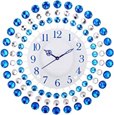 eCraftIndia Premium Diamond Series Analog Iron and Crystal Wall Clock (36 cm x 8 cm x 36 cm, Blue)