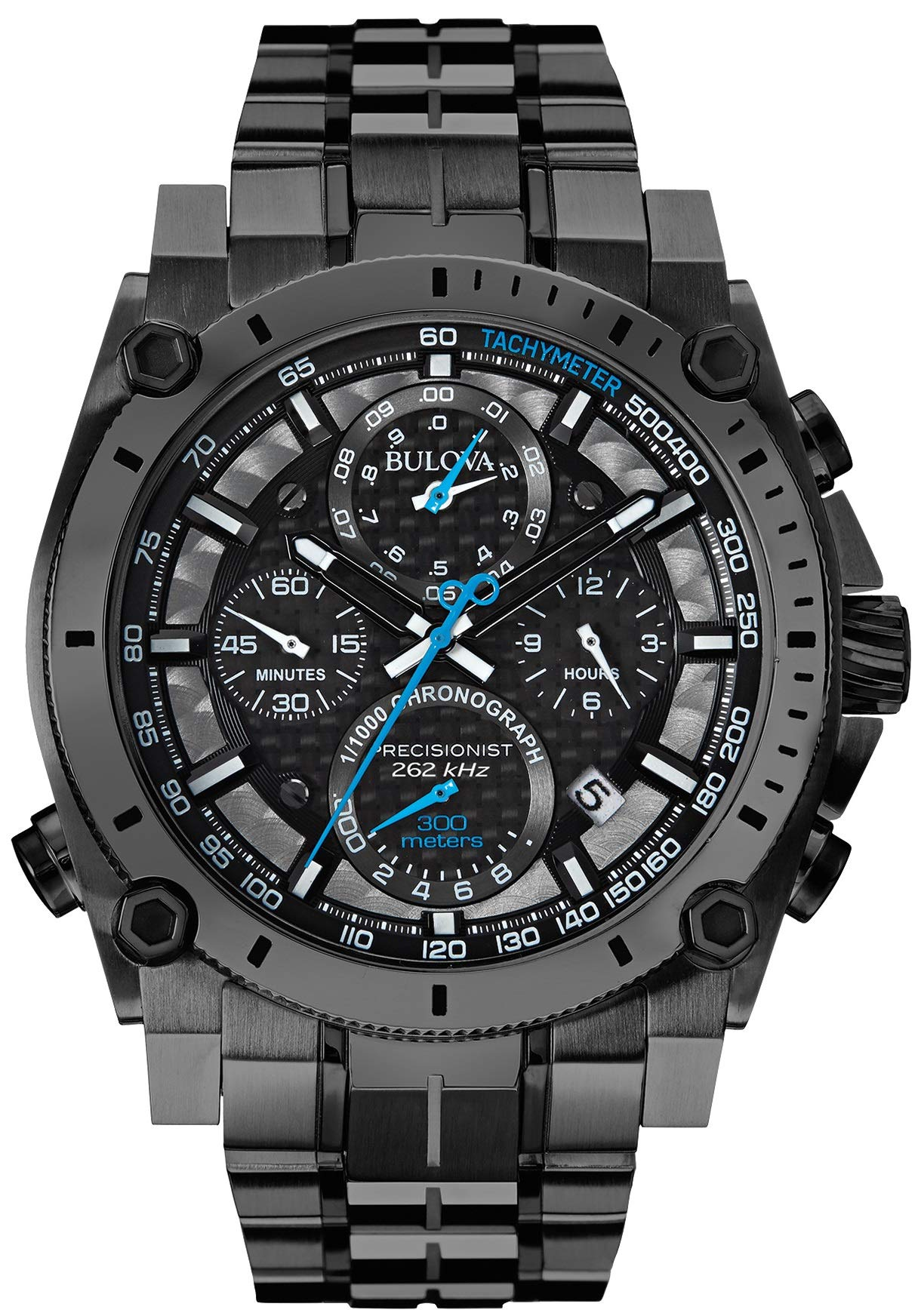Bulova Precisionist Chronograph Men's UHF Watch with Black Dial and Stainless Steel Bracelet