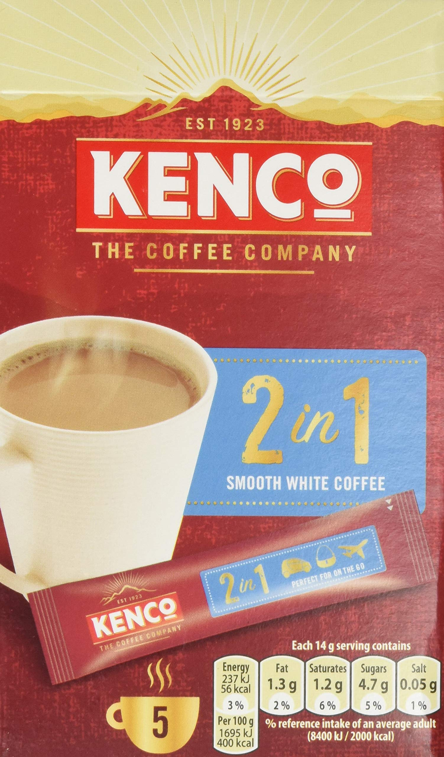 Kenco 2-in-1 Smooth White Instant Coffee (7 Boxes of 5 Sticks, Total 35 Servings)