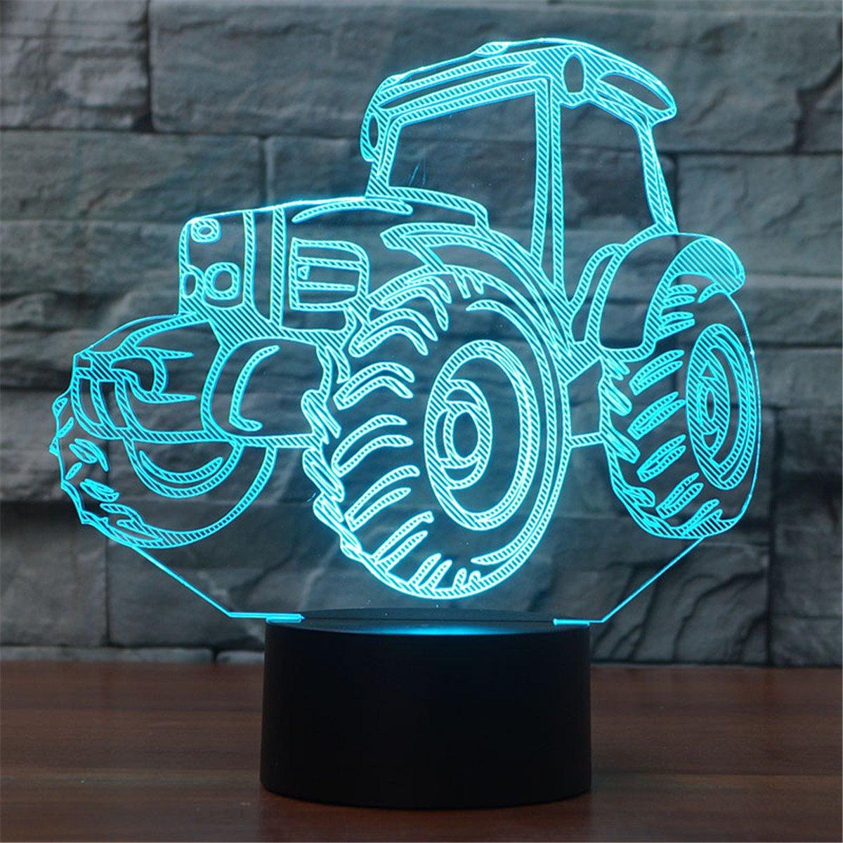 3D Illusion Lampe Traktor LED Nachtlicht, USB-Stromversorgung 7 Farben Blinken Berührungsschalter Schlafzimmer...