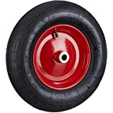 Relaxdays, zwart-rood kruiwagenwiel 4.80 4.00-8 luchtbanden, compleet wiel 120 kg draagvermogen, luchtbanden met ventiel