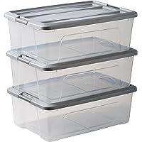 Amazon Basics 103433 Lot de 3 boîtes de rangement empilables - New Top Box NTB-30, Plastique, Transparent/Gris, 30 L