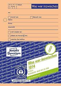 Avery Zweckform 1014 Gesprächsnotiz A6 Was War Inzwischen Was Ist Zu Tun 50 Blatt Orange Bürobedarf Schreibwaren