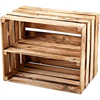 GrandBox Caisse en Bois flammé Flame-Box, avec étagère, Caisse à vin, Caisse à Fruits, Caisse de décoration, Rangement…