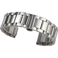 15-24mm bracciale cinturino spazzolato orologio in acciaio in argento 316L legami solidi in acciaio inox a doppia fibbia…