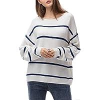 Maglione Donna Maglione Oversize Sweatshirt Felpa Invernali Primavera Manica Lunga Pullover Eleganti Stripe Casual Moda…