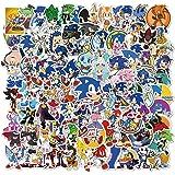 NEITWAY Sonic The Hedgehog Pegatinas Casco Moto 100-Pcs Cartoons Pegatinas Ordenador, Impermeable Pegatinas Moto Stickers Peg