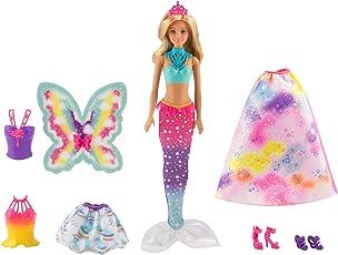 Barbie FJD08 Dreamtopia Regenbogen-Königreich 3-in-1 Fantasie Puppe Geschenkset, Mehrfarbig