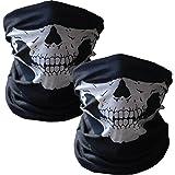 Wovte Gesichtsmaske, schwarz, nahtlose, mit Totenkopf-Motiv, Bandana, 2 Stück