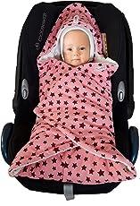 Baby Einschlagdecke Maxi cosi, Babyschale, Fußsack für Kinderwagen - für Winter aus Minky/Baumwolle SWADDYL (Rosa Creme)