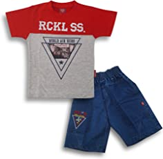 Kid's Care Printed Cotton T-Shirt and Half Pant Set for Boys1(FNK450_3-6 Months_)