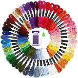 Punto Croce Kit SOLEDI 50 Colori Filo da Ricamo con 12 bobine di filo,10 aghi da ricamo, 1 infila aghi Usato per Ricamo - Pun