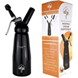 DFP Black Whipped Cream Dispenser; Mousse Siphon for Hot and Cold Sauces - 500ml