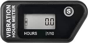 Runleader Digitaler Kabelloser Betriebsstundenzähler Mit Eigener Stromversorgung Vibrationsaktivierter Rücksetzbarer Job Timer Benutzersperre Für Den Generator Marine Lawn Mower Schwarz Auto