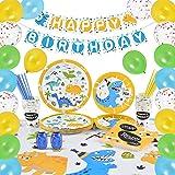 WERNNSAI Set di Forniture per Dinosauro - Decorazione del Partito per Ragazzi Bambini Compleanno Piatti Tovaglioli Copritavol