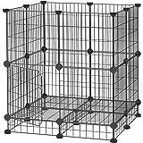 SONGMICS Jaula Metálica para Mascotas con Puerta, Valla para Animales Pequeños, Diseño DIY, para Cachorros, Conejos, Martillo