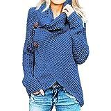 Jerseys De Punto para Mujer Cuello de Tortuga Manga Larga Suelto Prendas de Punto Suéter Irregular Jerséis Collar de la Pila