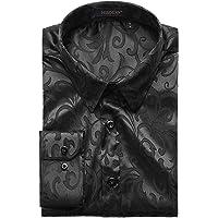 HISDERN Hommes Floral Paisley Chemise a Manches Longues Decontracte Mode Formelle Chemises habillees Boutons en Soie…