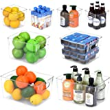 Toplife Refrigerator Storage Bins with Handle, Clear Plastic Organizer Container for Kitchen, Pantry, Freezer, Countertops, C