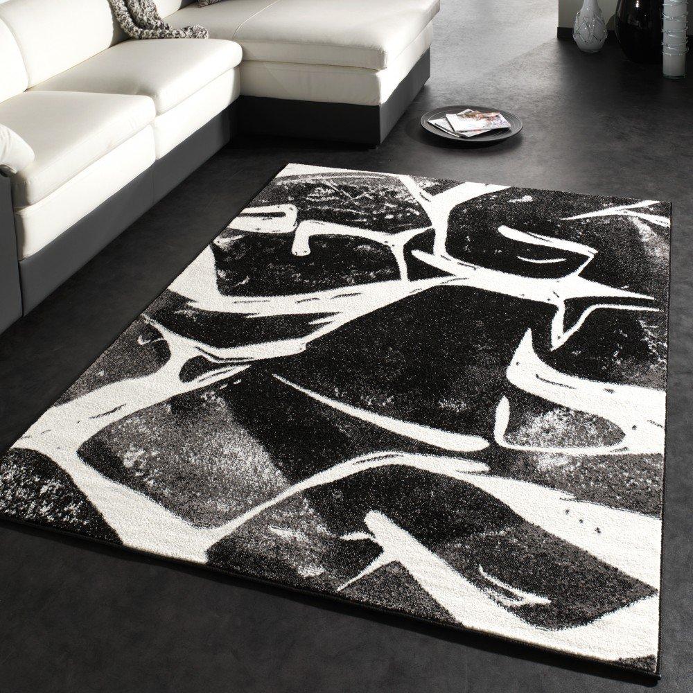 Teppich grau weiß  Designer Teppich Trendiger Kurzflor Teppich in Schwarz Grau ...