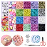 Mtanvxay 8280pcs Bracelet Beads for Jewelry Making Kit, 16 Colors Bead Friendship Bracelets Kit with Alphabet Letter Beads Ch