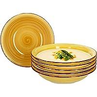 MamboCat Lot de 6 assiettes creuses Baita Jaune 450 ml Pour 6 personnes Assiette à salade en faïence avec motifs de…