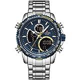 NAVIFORCE Mens Wrist Watch, Analog Digital Watch Chronograph Waterproof Sport Quartz Watches Business Fashion Stainless Steel