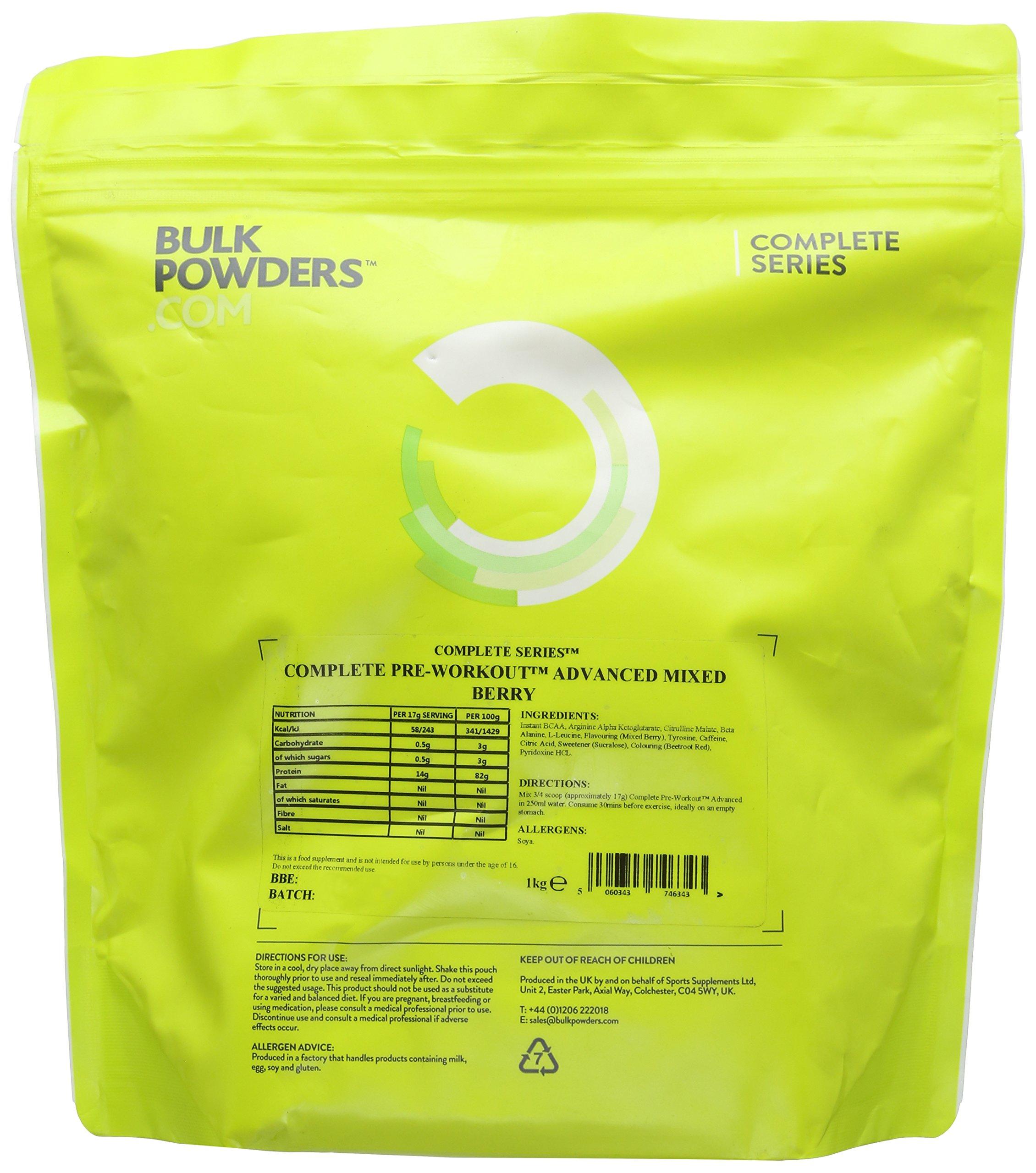 81Db469D8tL - BULK POWDERS Complete Pre Workout Advanced, Mixed Berry, 1 kg