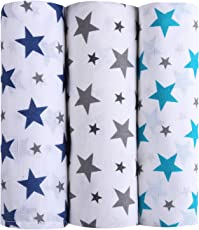 haus & kinder Twinkle Collection 100% Cotton Muslin Swaddles, Oversized, Extra Soft to Baby Delicate Skin, Unisex - Pack of 3 (Size 100 cm by 100 cm)