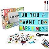 Caja de Luz A4 16 Colores con 300 Letras y Emojis, Mando, 2 Rotuladores – BONNYCO |Ñ y Ç | Cartel Luminoso LED, Ideal para De