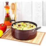 Cello Prima Non Stick Biryani Pot 5.5 LTR with Glass Lid, Gas Stove Compatible Only, Cherry