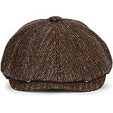 KeepSa Newsboy Casquillo Plano Sombreros Baker Boy Gorras - 8 Panel Peaky Herringbone Tweed Gatsby Hat Ivy Irish Cap para Hom
