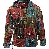 SHOPOHOLIC FASHION Stonewashed Stripe Patchwork Hippy Hooded Grandad Shirt