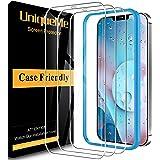 [3 PACK]UniqueMe Protector de pantalla Compatible con iPhone 12 Pro Max (6.7 pulgadas) Cristal Templado, [Sin burbujas] Durez