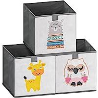 Navaris Lot 3x Boîte de Rangement - 3x Bac Pliable 28 x 28 x 28 cm pour Stockage Jouets Vêtements Fournitures et…