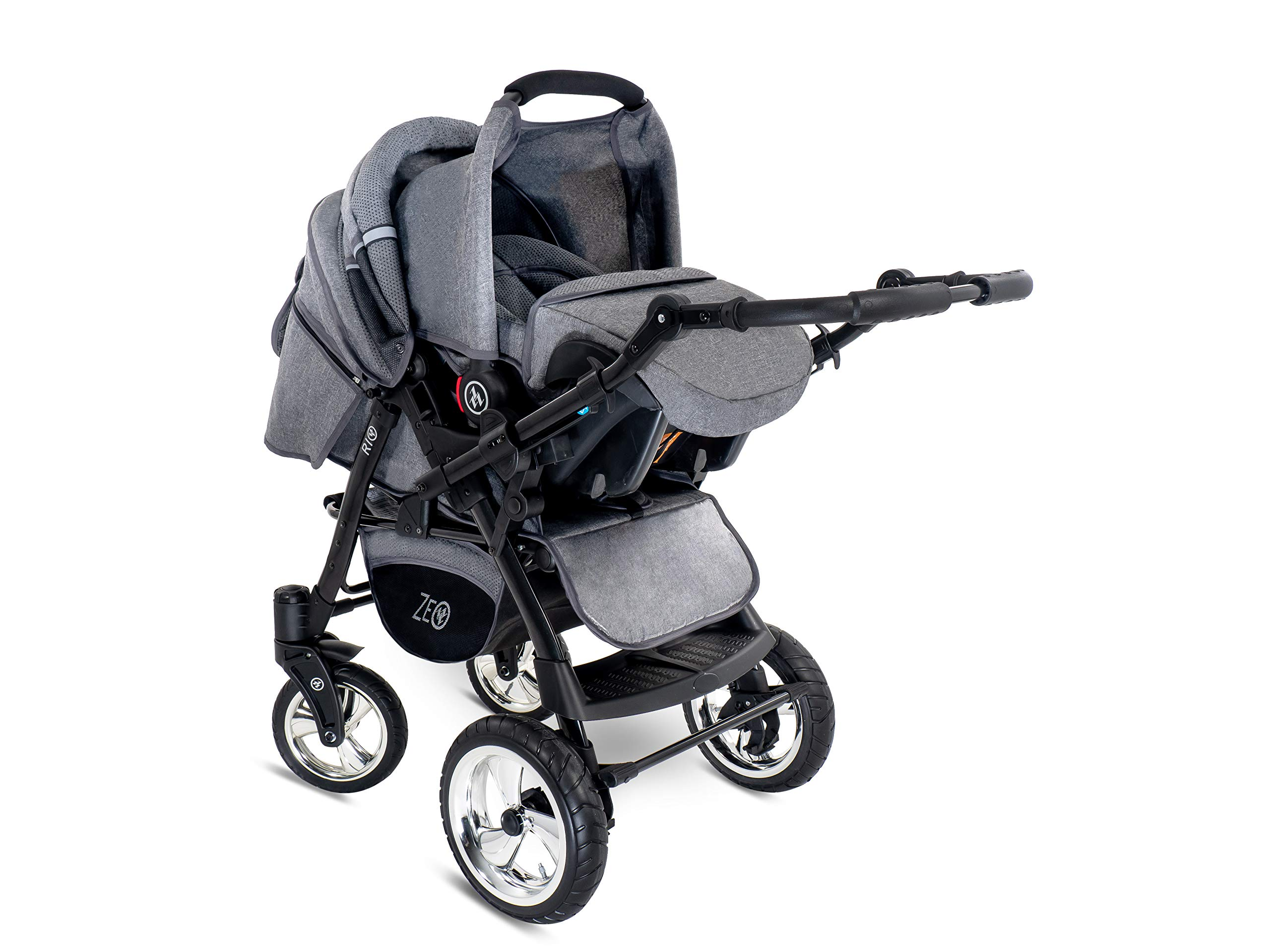 Baby Pram Zeo Rio 3in1 Set - All You Need! carrycot Gondola Buggy Pushchair car seat (R3) Zeo 3 in 1 combination stroller complete set, with reversible handle to the buggy, child car seat or baby carriage Has 360 ° swiveling wheels, two-fold suspension, four-stage backrest, five-position adjustable footrest and a five-point safety belt The stroller can be easily converted into other functions and easy to transport 9