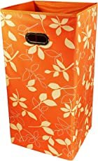 PAffy Fabric Foldable Laundry Basket and Bag Hamper, Orange