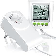 CSL - Stromkostenmessgerät / Energiekostenmessgerät / Stromverbrauchszähler inkl. Kabelverlängerung   Power Cost Monitor   Datum / Uhrzeit / Kosten / CO2-Einstellungen   3680W