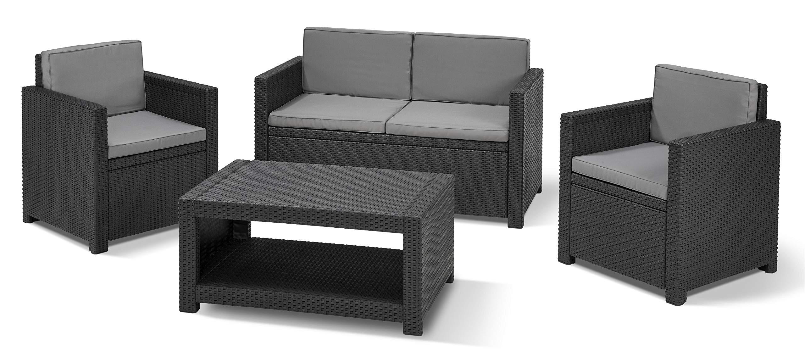 Keter Rattan Style 3 Drawer Cart.Keter Allibert Monaco Outdoor 4 Seater Rattan Lounge Garden